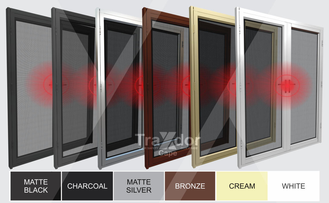 Legion Guard Clearvista Security Screen Door in its colour range, Traxdor Cape, Western and Eastern Cape