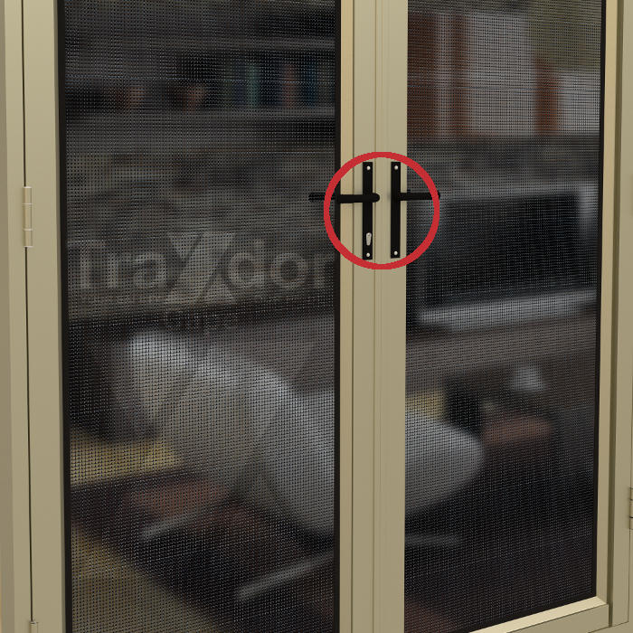 Legion Guard Clearvista security screen door anti-lift lock protection in the french door, Traxdor Cape, Western and Eastern Cape