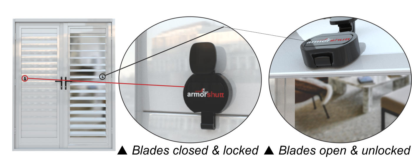 Legion Guard Armorshutt security shutter doors - blade locking and blade adjustment. A product of Traxdor Cape. Factory resides in Mossel Bay, Western Cape