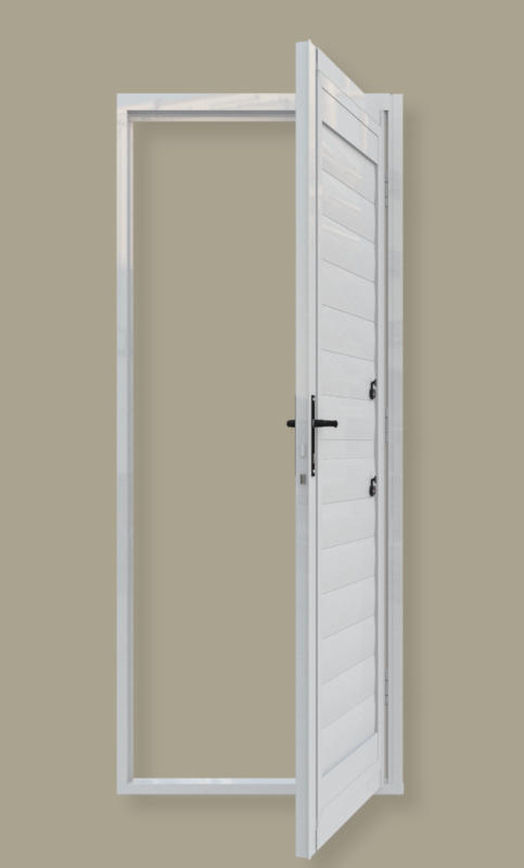 A single hinged security shutter door. A product of Traxdor Cape. Factory resides in Mossel Bay, Western Cape