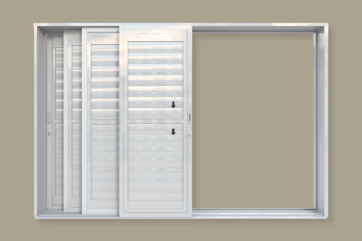 A multi-track, multi-panel security shutter door. A product of Traxdor Cape. Factory resides in Mossel Bay, Western Cape